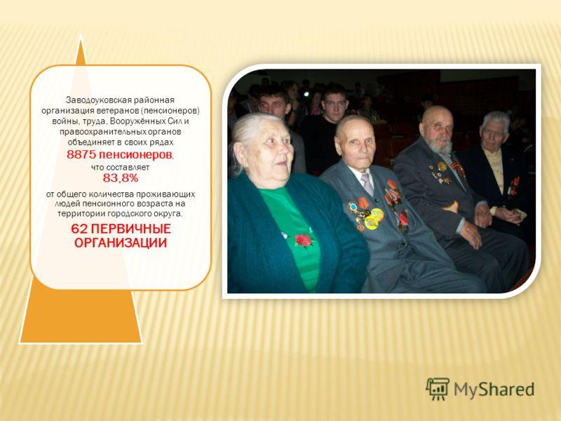 Заводоуковская районная организация ветеранов (пенсионеров) войны, труда, Вооружённых Сил и правоохранительных органов объединяет в своих рядах 8875 пенсионеров, что составляет 83,8% от общего количества проживающих людей пенсионного возраста на терр