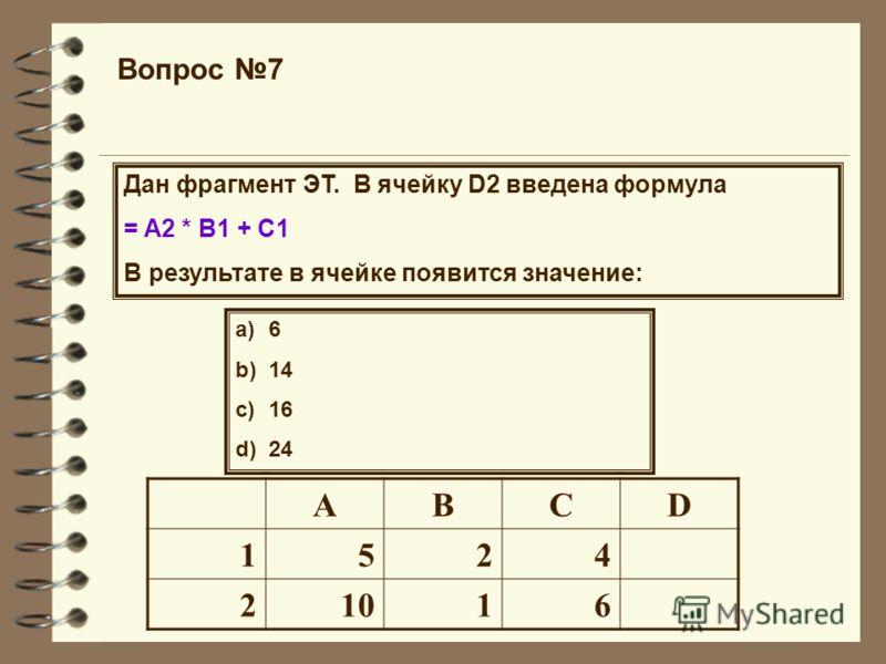 Вопрос 7 Дан фрагмент ЭТ. В ячейку D2 введена формула = A2 * B1 + C1 В результате в ячейке появится значение: a)6 b)14 c)16 d)24 ABCD 1524 21016