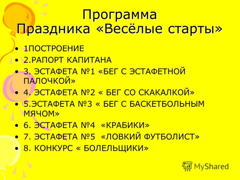 Программа Праздника «Весёлые старты» 1ПОСТРОЕНИЕ 2.РАПОРТ КАПИТАНА 3. ЭСТАФЕТА 1 «БЕГ С ЭСТАФЕТНОЙ ПАЛОЧКОЙ» 4. ЭСТАФЕТА 2 « БЕГ СО СКАКАЛКОЙ» 5.ЭСТАФЕТА 3 « БЕГ С БАСКЕТБОЛЬНЫМ МЯЧОМ» 6. ЭСТАФЕТА 4 «КРАБИКИ» 7. ЭСТАФЕТА 5 «ЛОВКИЙ ФУТБОЛИСТ» 8. КОНКУ