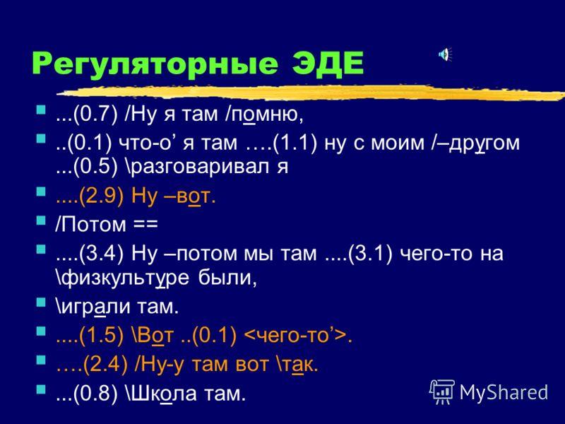 Регуляторные ЭДЕ...(0.7) /Ну я там /помню,..(0.1) что-о я там ….(1.1) ну с моим /–другом...(0.5) \разговаривал я....(2.9) Ну –вот. /Потом ==....(3.4) Ну –потом мы там....(3.1) чего-то на \физкультуре были, \играли там.....(1.5) \Вот..(0.1). ….(2.4) /