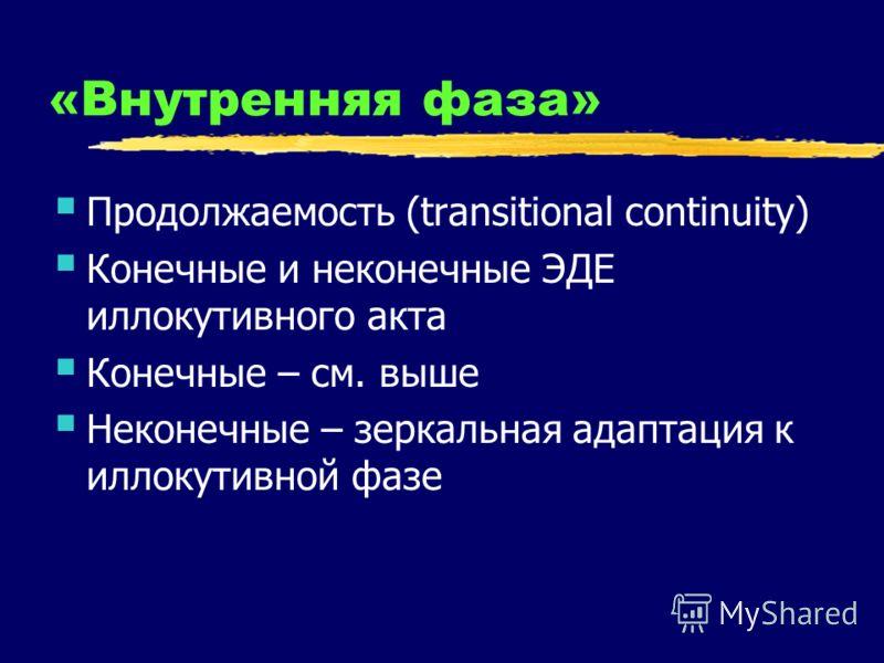 «Внутренняя фаза» Продолжаемость (transitional continuity) Конечные и неконечные ЭДЕ иллокутивного акта Конечные – см. выше Неконечные – зеркальная адаптация к иллокутивной фазе