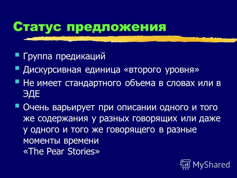Статус предложения Группа предикаций Дискурсивная единица «второго уровня» Не имеет стандартного объема в словах или в ЭДЕ Очень варьирует при описании одного и того же содержания у разных говорящих или даже у одного и того же говорящего в разные мом