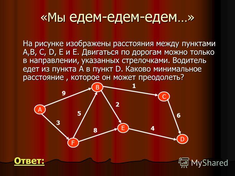 «Мы едем-едем-едем …» На рисунке изображены расстояния между пунктами А,B, C, D, E и Е. Двигаться по дорогам можно только в направлении, указанных стрелочками. Водитель едет из пункта А в пункт D. Каково минимальное расстояние, которое он может преод