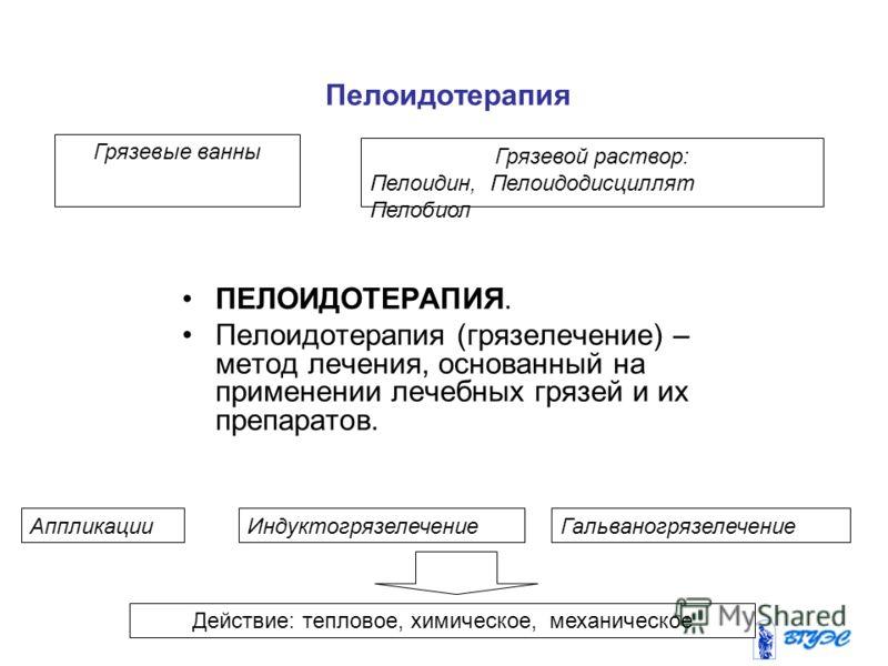 Пелоидотерапия Грязевые ванны Грязевой раствор: Пелоидин, Пелоидодисциллят Пелобиол ИндуктогрязелечениеГальваногрязелечениеАппликации Действие: тепловое, химическое, механическое ПЕЛОИДОТЕРАПИЯ. Пелоидотерапия (грязелечение) – метод лечения, основанн