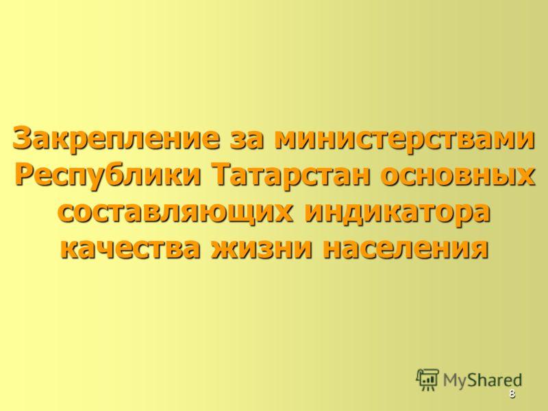 8 Закрепление за министерствами Республики Татарстан основных составляющихиндикатора качества жизни населения Закрепление за министерствами Республики Татарстан основных составляющих индикатора качества жизни населения
