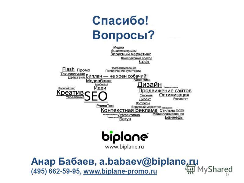 18 Спасибо! Вопросы? Анар Бабаев, a.babaev@biplane.ru (495) 662-59-95, www.biplane-promo.ru