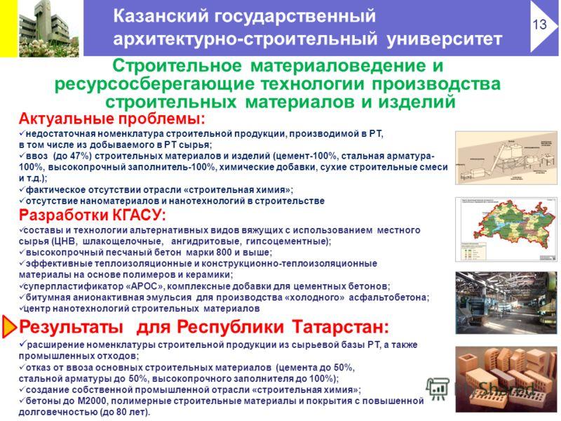 Строительное материаловедение и ресурсосберегающие технологии производства строительных материалов и изделий Актуальные проблемы: недостаточная номенклатура строительной продукции, производимой в РТ, в том числе из добываемого в РТ сырья; ввоз (до 47