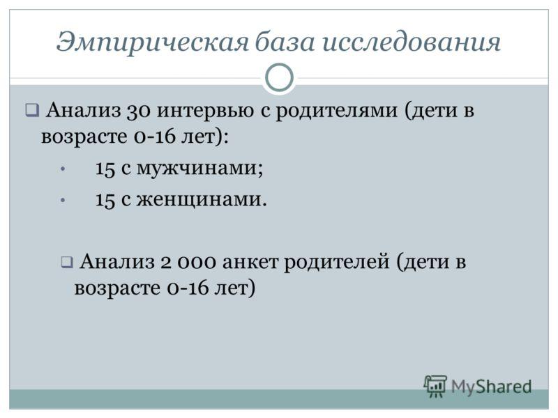 Эмпирическая база исследования Анализ 30 интервью с родителями (дети в возрасте 0-16 лет): 15 с мужчинами; 15 с женщинами. Анализ 2 000 анкет родителей (дети в возрасте 0-16 лет)