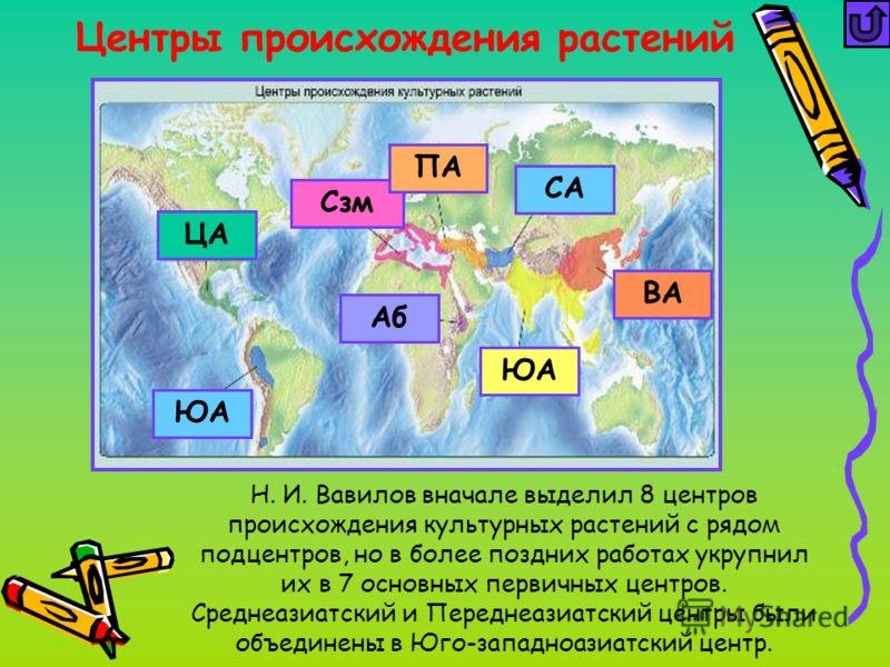 Центры происхождения растений Н. И. Вавилов вначале выделил 8 центров происхождения культурных растений с рядом подцентров, но в более поздних работах укрупнил их в 7 основных первичных центров. Среднеазиатский и Переднеазиатский центры были объедине