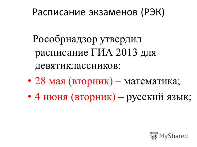 Расписание экзаменов (РЭК) Рособрнадзор утвердил расписание ГИА 2013 для девятиклассников: 28 мая (вторник) – математика; 4 июня (вторник) – русский язык;