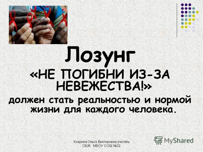Хохрина Ольга Викторовна учитель ОБЖ МБОУ СОШ 32 Лозунг «НЕ ПОГИБНИ ИЗ-ЗА НЕВЕЖЕСТВА!» должен стать реальностью и нормой жизни для каждого человека.