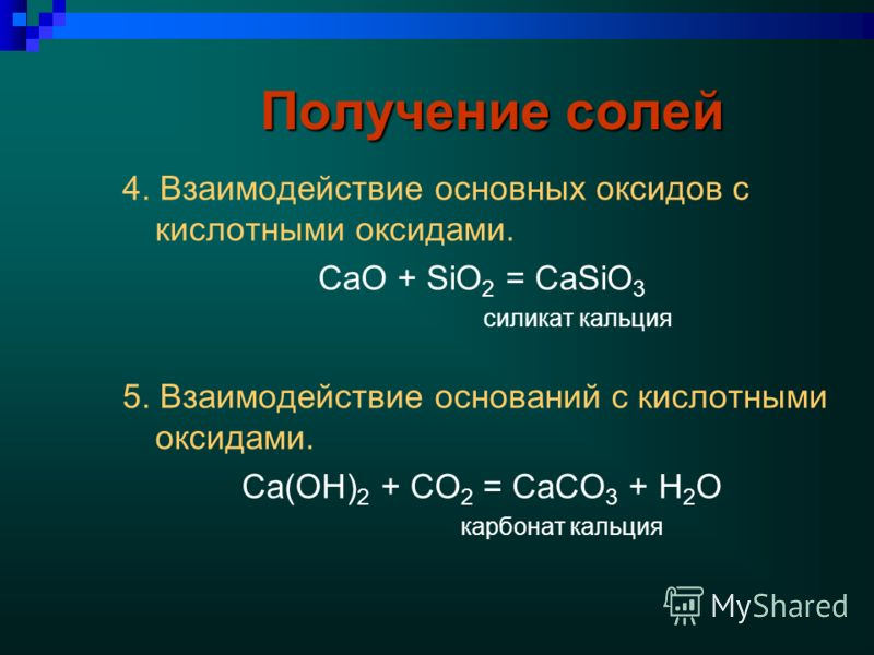 Получение солей 4. Взаимодействие основных оксидов с кислотными оксидами. CaO + SiO 2 = CaSiO 3 силикат кальция 5. Взаимодействие оснований с кислотными оксидами. Ca(OH) 2 + CO 2 = CaCO 3 + H 2 O карбонат кальция