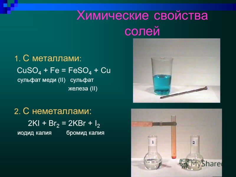 Химические свойства солей 1. С металлами : CuSO 4 + Fe = FeSO 4 + Cu сульфат меди (II) сульфат железа (II) 2. С неметаллами: 2KI + Br 2 = 2KBr + I 2 иодид калия бромид калия