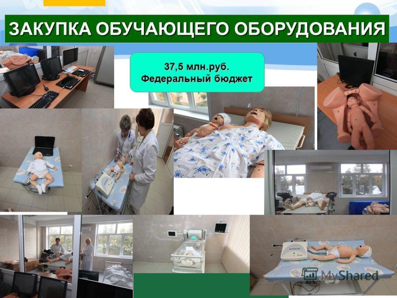 ЗАКУПКА ОБУЧАЮЩЕГО ОБОРУДОВАНИЯ 37,5 млн.руб. Федеральный бюджет