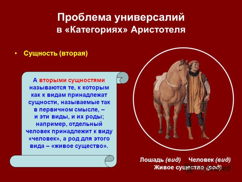 Проблема универсалий в «Категориях» Аристотеля Сущность (вторая) Живое существо (род) А вторыми сущностями называются те, к которым как к видам принадлежат сущности, называемые так в первичном смысле, – и эти виды, и их роды; например, отдельный чело