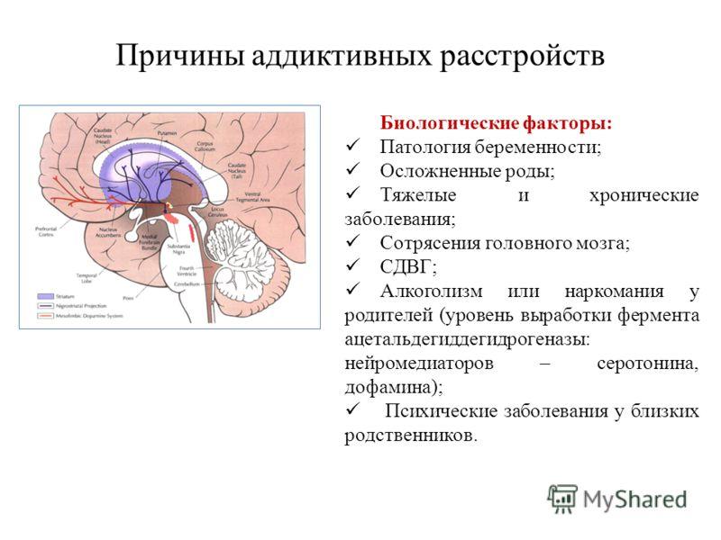Причины аддиктивных расстройств Биологические факторы: Патология беременности; Осложненные роды; Тяжелые и хронические заболевания; Сотрясения головного мозга; СДВГ; Алкоголизм или наркомания у родителей (уровень выработки фермента ацетальдегиддегидр