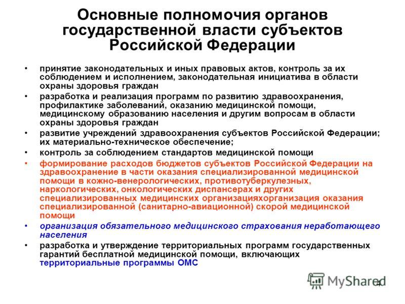 4 Основные полномочия органов государственной власти субъектов Российской Федерации принятие законодательных и иных правовых актов, контроль за их соблюдением и исполнением, законодательная инициатива в области охраны здоровья граждан разработка и ре