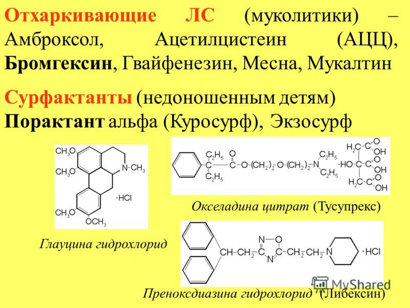 Отхаркивающие ЛС (муколитики) – Амброксол, Ацетилцистеин (АЦЦ), Бромгексин, Гвайфенезин, Месна, Мукалтин Сурфактанты (недоношенным детям) Порактант альфа (Куросурф), Экзосурф Глауцина гидрохлорид Окселадина цитрат (Тусупрекс) Преноксдиазина гидрохлор