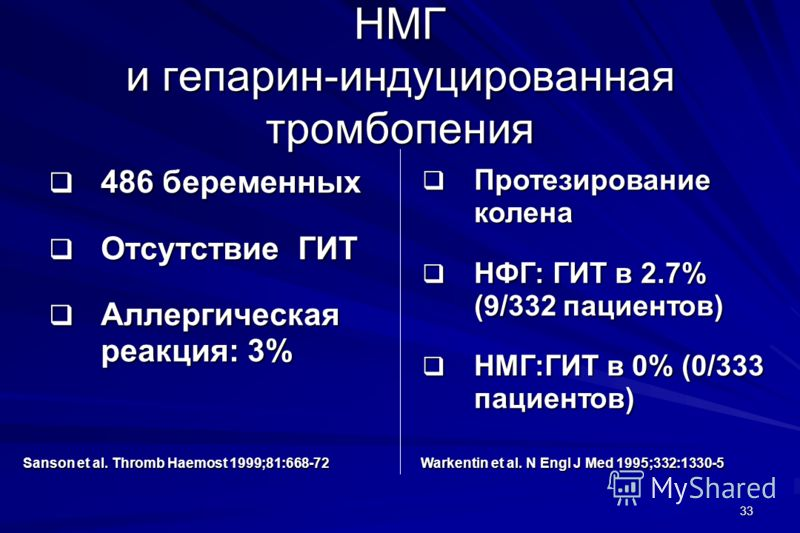 33 НМГ и гепарин-индуцированная тромбопения 486 беременных 486 беременных Отсутствие ГИТ Отсутствие ГИТ Аллергическая реакция: 3% Аллергическая реакция: 3% Sanson et al. Thromb Haemost 1999;81:668-72 Warkentin et al. N Engl J Med 1995;332:1330-5 Прот