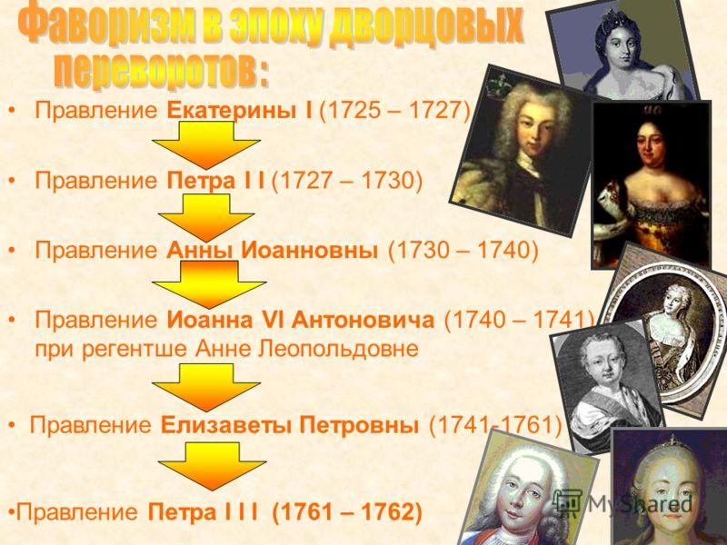 Правление Екатерины Ι (1725 – 1727) Правление Петра Ι Ι (1727 – 1730) Правление Анны Иоанновны (1730 – 1740) Правление Иоанна VI Антоновича (1740 – 1741) – при регентше Анне Леопольдовне Правление Елизаветы Петровны (1741-1761) Правление Петра Ι Ι Ι