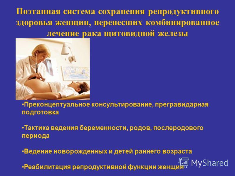 Поэтапная система сохранения репродуктивного здоровья женщин, перенесших комбинированное лечение рака щитовидной железы Преконцептуальное консультирование, прегравидарная подготовка Тактика ведения беременности, родов, послеродового периода Ведение н