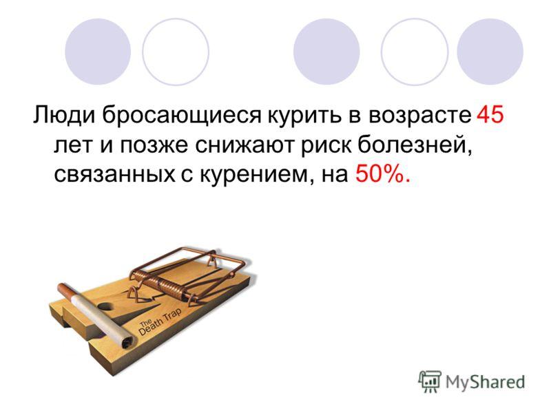 Люди бросающиеся курить в возрасте 45 лет и позже снижают риск болезней, связанных с курением, на 50%.