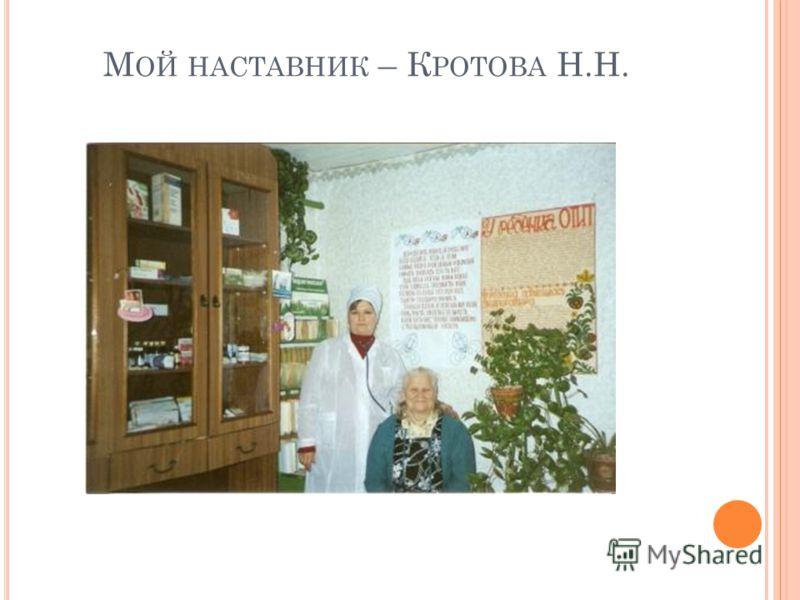 М ОЙ НАСТАВНИК – К РОТОВА Н.Н.