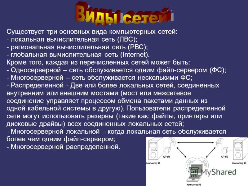 Существует три основных вида компьютерных сетей: - локальная вычислительная сеть (ЛВС); - региональная вычислительная сеть (РВС); - глобальная вычислительная сеть (Internet). Кроме того, каждая из перечисленных сетей может быть: - Односерверной – сет