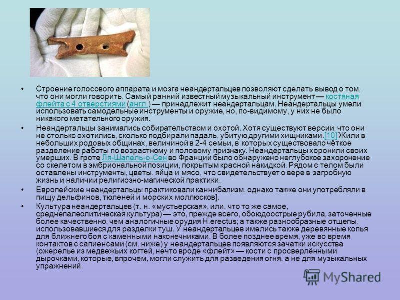Строение голосового аппарата и мозга неандертальцев позволяют сделать вывод о том, что они могли говорить. Самый ранний известный музыкальный инструмент костяная флейта с 4 отверстиями (англ.) принадлежит неандертальцам. Неандертальцы умели использов
