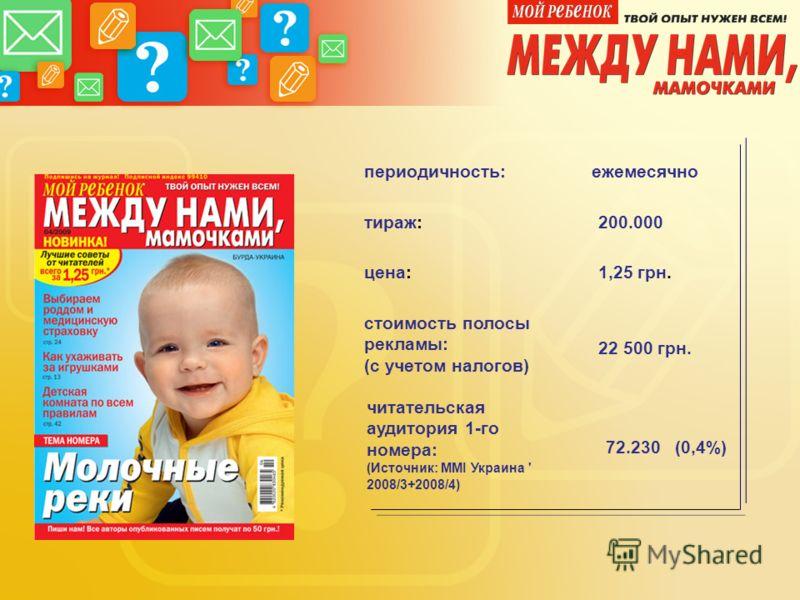 цена: 1,25 грн. стоимость полосы рекламы: (с учетом налогов) тираж: 200.000 периодичность:ежемесячно 22 500 грн. читательская аудитория 1-го номера: (Источник: MMI Украина ' 2008/3+2008/4) 72.230 (0,4%)
