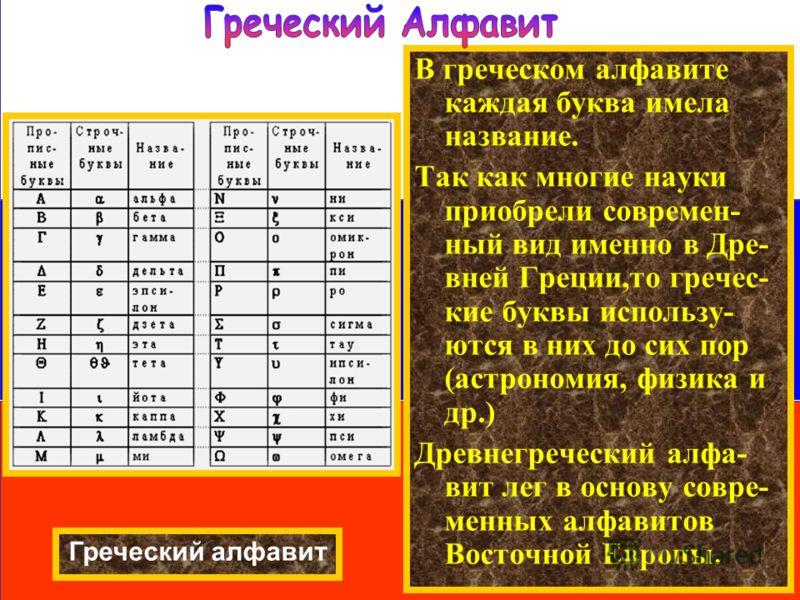 В греческом алфавите каждая буква имела название. Так как многие науки приобрели современ- ный вид именно в Дре- вней Греции,то гречес- кие буквы использу- ются в них до сих пор (астрономия, физика и др.) Древнегреческий алфа- вит лег в основу совре-