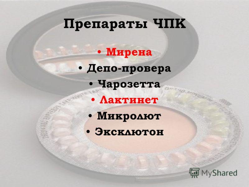 Препараты ЧПК Мирена Депо-провера Чарозетта Лактинет Микролют Эксклютон