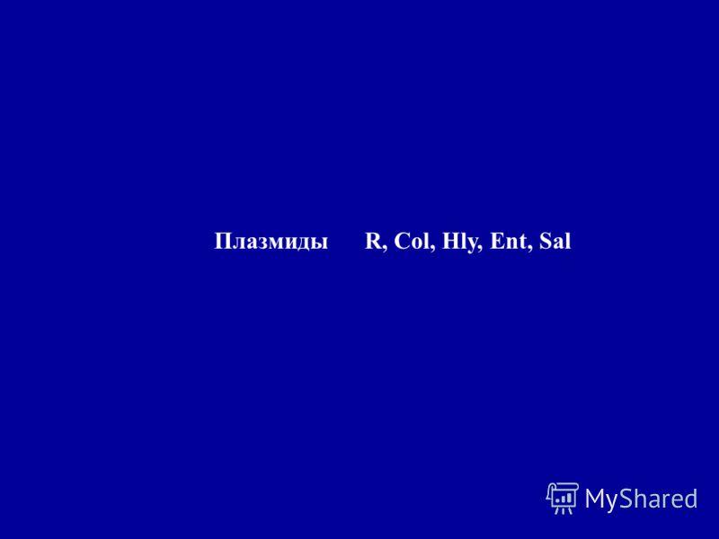 Плазмиды R, Col, Hly, Ent, Sal
