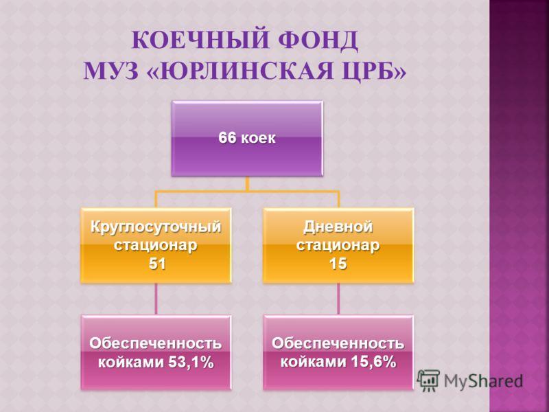 66 коек Круглосуточный стационар 51 51 Обеспеченность койками 53,1% Дневной стационар 15 Обеспеченность койками 15,6%