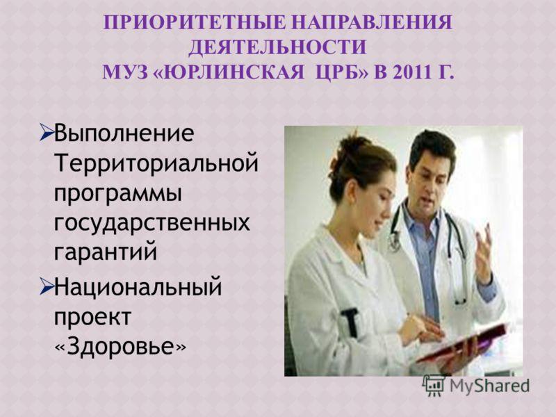 Выполнение Территориальной программы государственных гарантий Национальный проект «Здоровье»
