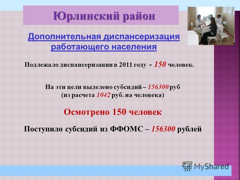 29 Дополнительная диспансеризация работающего населения Подлежало диспансеризации в 2011 году - 150 человек. На эти цели выделено субсидий – 156300 руб (из расчета 1042 руб. на человека) Осмотрено 150 человек Поступило субсидий из ФФОМС – 156300 рубл