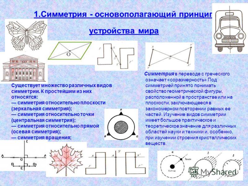 1.Симметрия - основополагающий принцип устройства мира Симметрия в переводе с греческого означает «соразмерность» Под симметрией принято понимать свойство геометрической фигуры, расположенной в пространстве или на плоскости, заключающееся в закономер