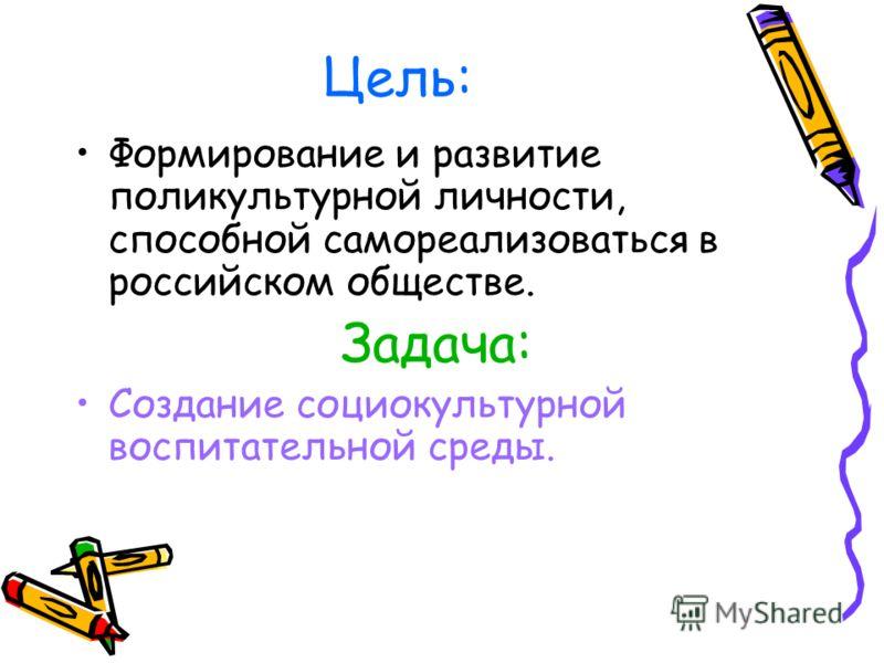 Цель: Формирование и развитие поликультурной личности, способной самореализоваться в российском обществе. Задача: Создание социокультурной воспитательной среды.