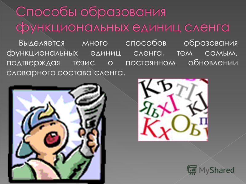 Выделяется много способов образования функциональных единиц сленга, тем самым, подтверждая тезис о постоянном обновлении словарного состава сленга.