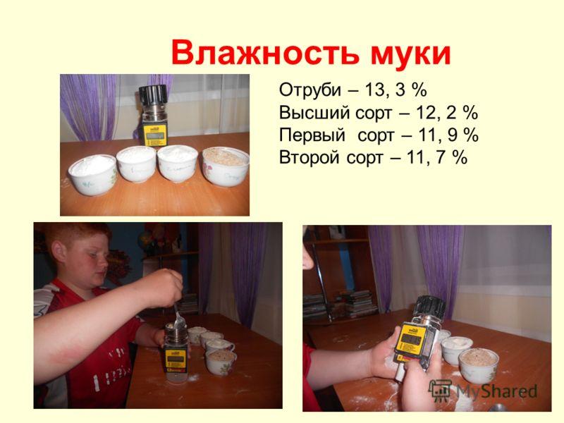 Влажность муки Отруби – 13, 3 % Высший сорт – 12, 2 % Первый сорт – 11, 9 % Второй сорт – 11, 7 %