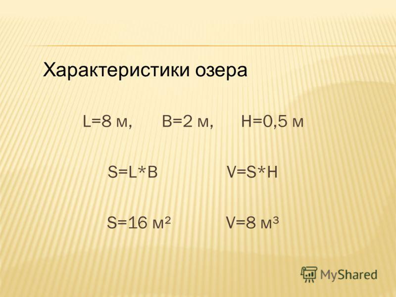 L=8 м, B=2 м, H=0,5 м S=L*B V=S*H S=16 м² V=8 м³ Характеристики озера
