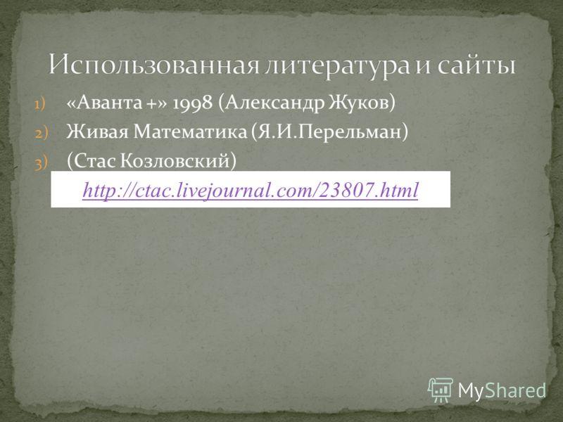 1) «Аванта +» 1998 (Александр Жуков) 2) Живая Математика (Я.И.Перельман) 3) (Стас Козловский) http://ctac.livejournal.com/23807.html
