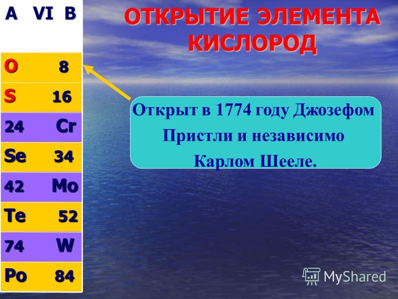 ОТКРЫТИЕ ЭЛЕМЕНТА КИСЛОРОД A VI B O 8 S 16 24 Cr Se 34 42 Mo Te 52 74 W Po 84 Открыт в 1774 году Джозефом Пристли и независимо Карлом Шееле.