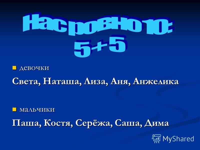 девочки девочки Света, Наташа, Лиза, Аня, Анжелика мальчики мальчики Паша, Костя, Серёжа, Саша, Дима