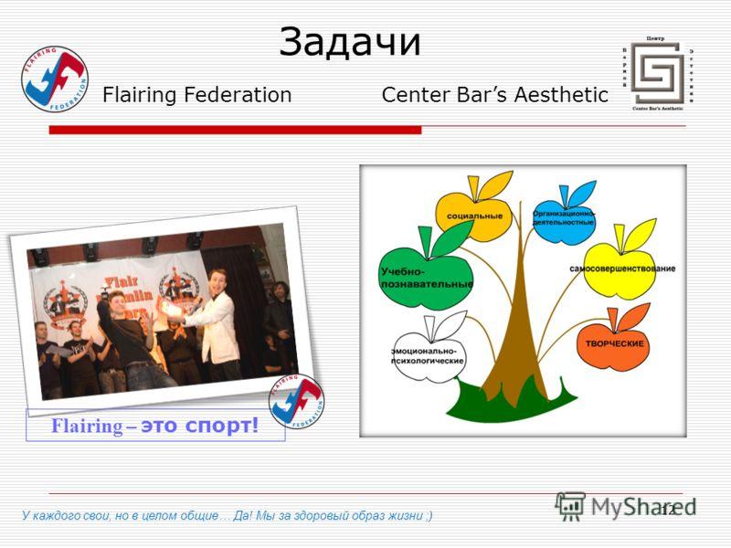 12 Задачи У каждого свои, но в целом общие… Да! Мы за здоровый образ жизни ;) Flairing Federation Flairing – это спорт! Center Bars Aesthetic