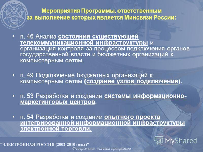 Мероприятия Программы, ответственным за выполнение которых является Минсвязи России: п. 46 Анализ состояния существующей телекоммуникационной инфраструктуры и организация контроля за процессом подключения органов государственной власти и бюджетных ор