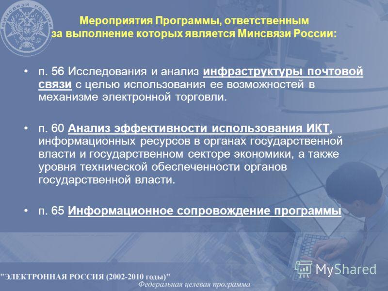 Мероприятия Программы, ответственным за выполнение которых является Минсвязи России: п. 56 Исследования и анализ инфраструктуры почтовой связи с целью использования ее возможностей в механизме электронной торговли. п. 60 Анализ эффективности использо