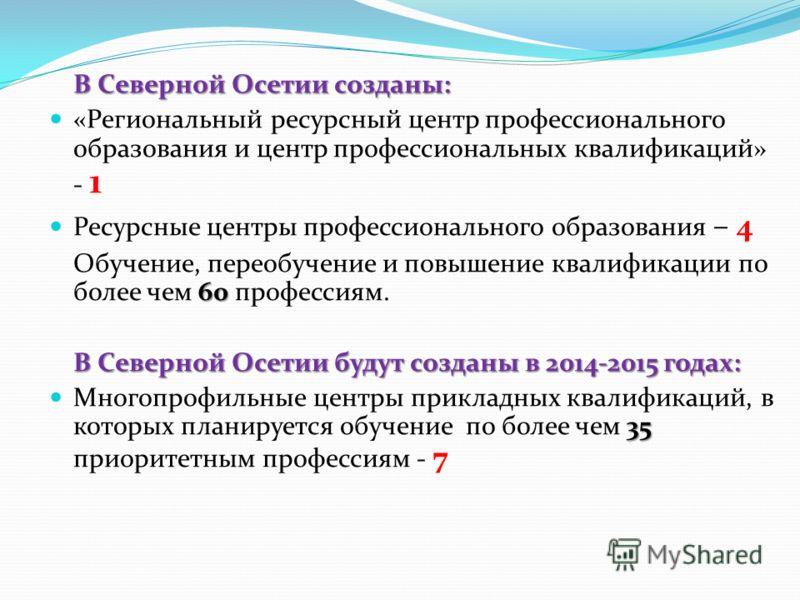 В Северной Осетии созданы: «Региональный ресурсный центр профессионального образования и центр профессиональных квалификаций» - 1 Ресурсные центры профессионального образования – 4 60 Обучение, переобучение и повышение квалификации по более чем 60 пр