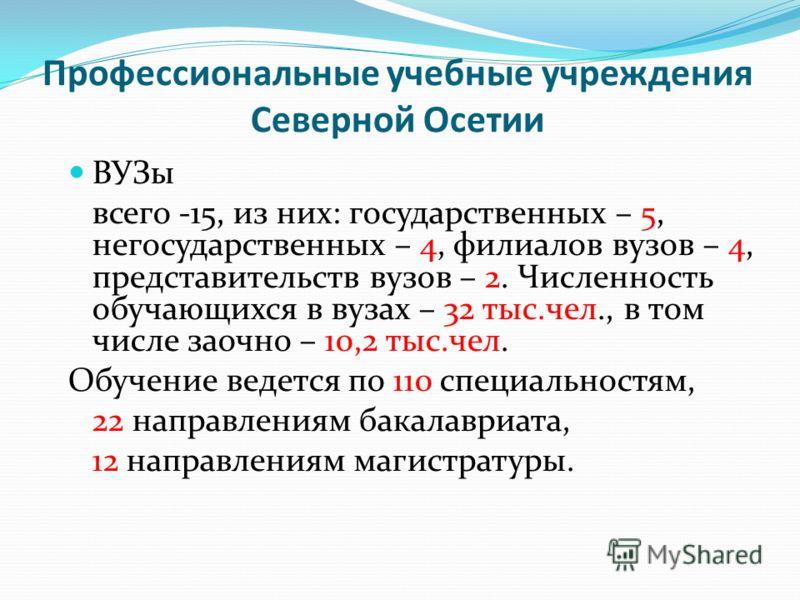 Профессиональные учебные учреждения Северной Осетии ВУЗы всего -15, из них: государственных – 5, негосударственных – 4, филиалов вузов – 4, представительств вузов – 2. Численность обучающихся в вузах – 32 тыс.чел., в том числе заочно – 10,2 тыс.чел.