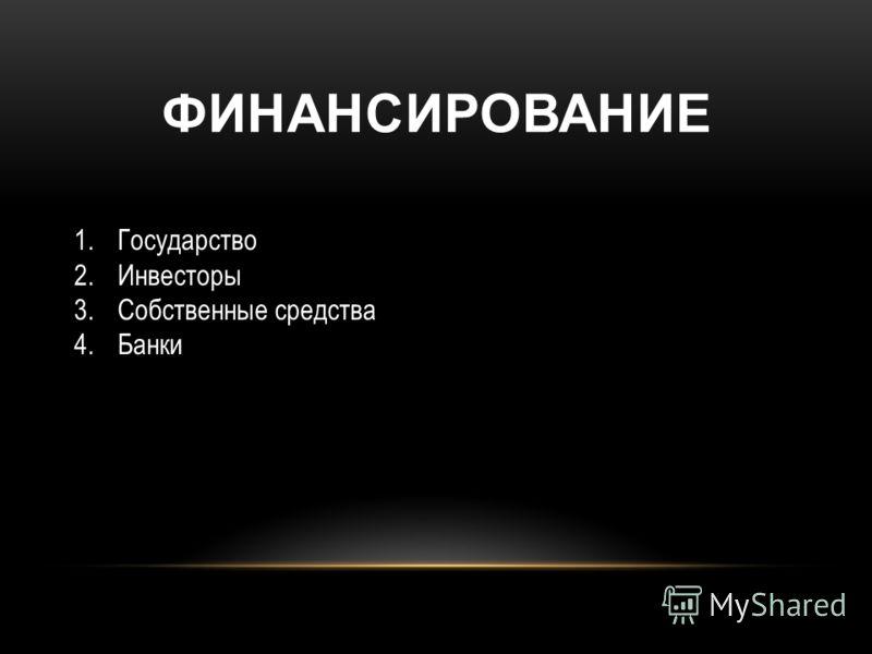 ФИНАНСИРОВАНИЕ 1.Государство 2.Инвесторы 3.Собственные средства 4.Банки